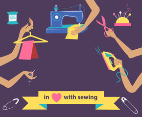 Sewing illustration with collection of differnt tools in hands