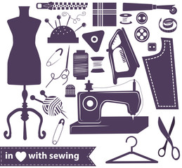 Sewing related elements over white
