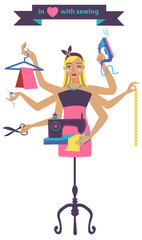 Sewing illustration with dressmaker and differnt tools