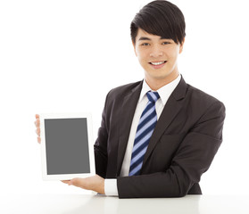 professional business man using a tablet to display