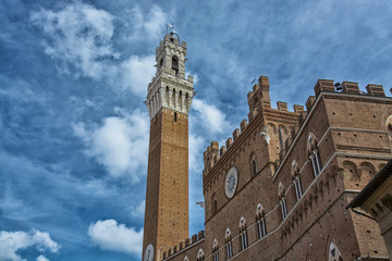 Detail of the Torre del Mangia and Piazza del Campo, Siena, Tusc