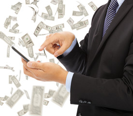 business man touching smart phone with money rain background