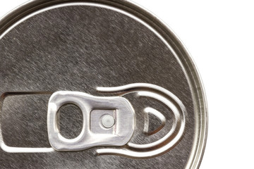 Close up of can pull tab, top view of aluminum tin can.