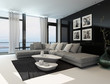 Lounge interior with a dark accent wall