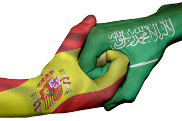 Handshake between Spain and Saudi Arabia