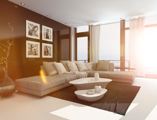 Comfortable livingroom interior in bright sunlight