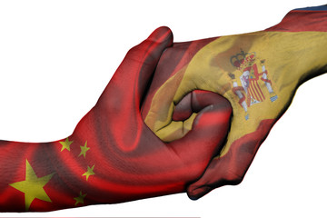 Handshake between China and Spain