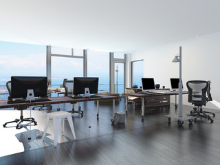 Modern waterfront office overlooking the sea