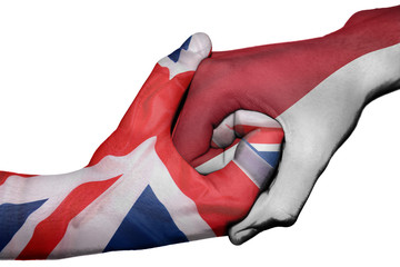 Handshake between United Kingdom and Indonesia
