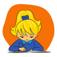 children in school - vector illustration of a girl writing
