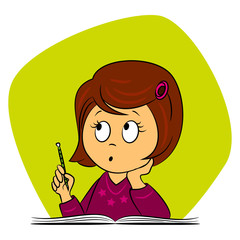 children in school - girl is thinking what to write