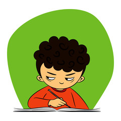 children in school – vector illustration of a boy who is peeking
