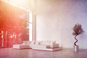 Minimalistisches Zimmer mit Couch, Betonwand und Lichtstrahlen