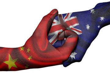 Handshake between China and Australia