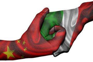 Handshake between China and Italy