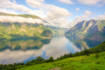 Sogne Fjord in Clouds in Norway