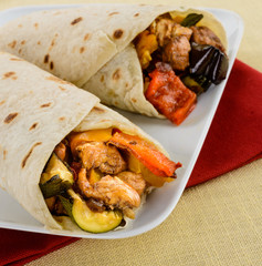 Mexican tortillas with chicken and vegetables