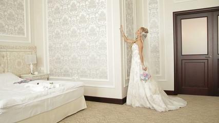 Honeymoon Room, bride, posing, dress