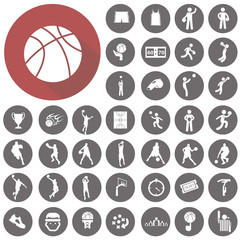 Basketball icons set. Illustration eps10