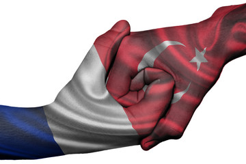 Handshake between France and Turkey