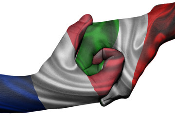 Handshake between France and Italy