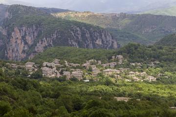 Old stone houses in the village Dilofo of Zagoria, Greece