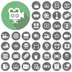 Cinema icons set. Illustration eps10