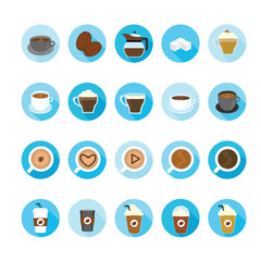 Coffee and tea cup icons set. Illustration eps10