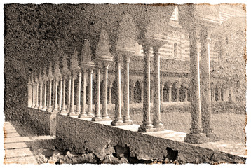 Vintage look image of an Italian church cloister.