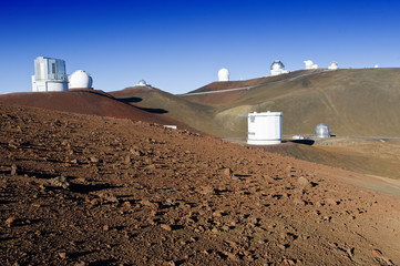 Telescopes on the summit of Mauna Kea, Hawaii.