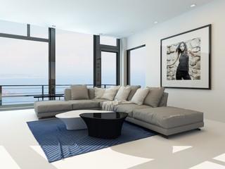 Modernes luxuriöses Wohnzimmer mit Meerblick