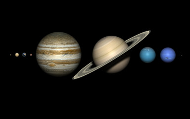 Planets of the solar system with correct relative sizes.