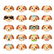 Dog smiley faces icon set. Illustration eps10