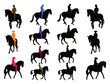 Horse rider silhouettes - 67861356