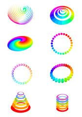 diverse Elemente in Regenbogenfarben