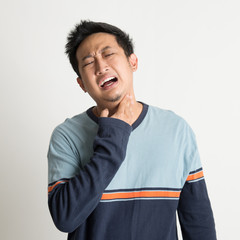 Asian male sore throat