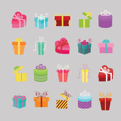 Gift box icons set. Illustration eps10