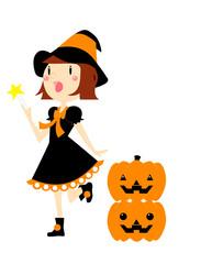ハロウィン 女の子とカボチャ