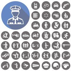 Police icons set. Illustration eps10