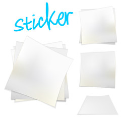 Vector illustration of white stickers