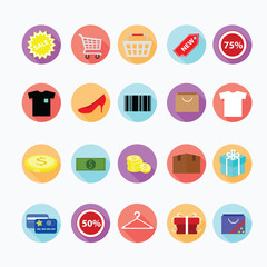 Trendy shopping icons set. Illustration eps10