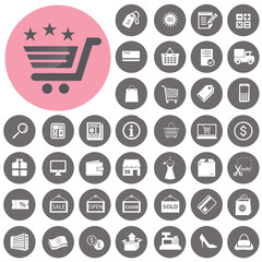 Shopping icons set. Illustration eps10