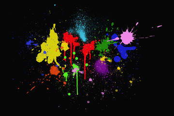colorful ink splashes