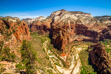 Beautiful view of canyon in Zion National Park.