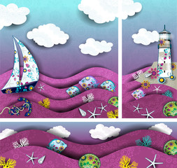Set landscape lighthouse and boat decorated