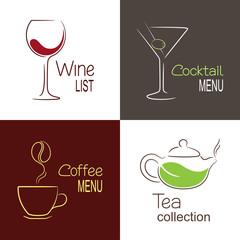 Set of icons and emblems for restaurant drinks menu design
