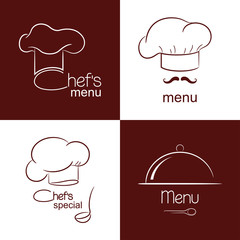 Set of icons and emblems for restaurant menu design