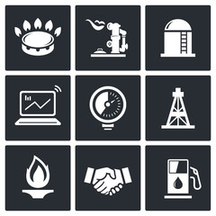 Gas trade vector icon set