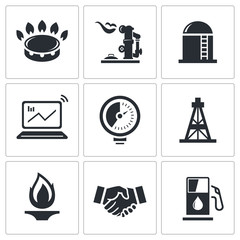 Gas trade vector icon collection