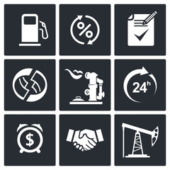 Sale of petroleum products icon set